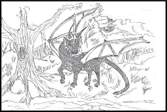hand drawn dragon by Paul E. Leicht.