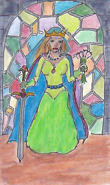 Duchess of Swords -- from my most recent set of Tarot